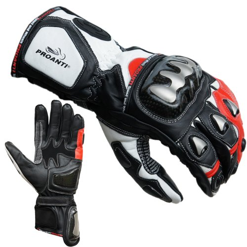 PROANTI–Guantes para Moto (Tallas m-XL Rojo Rojo Talla:Large