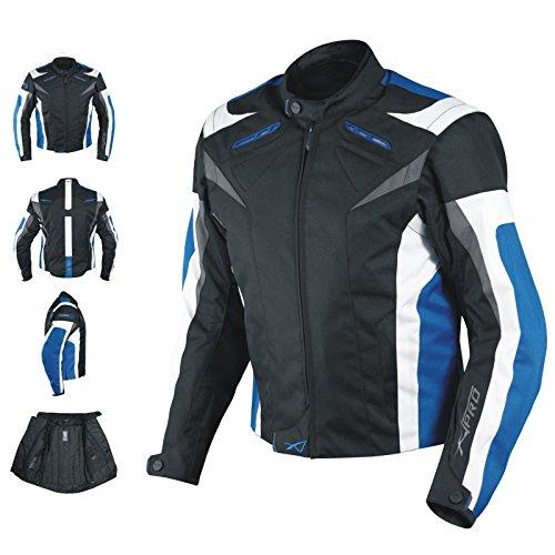 A-pro Chaqueta motocicleta CE, protectores textiles deportivos, forro térmico, azul, L