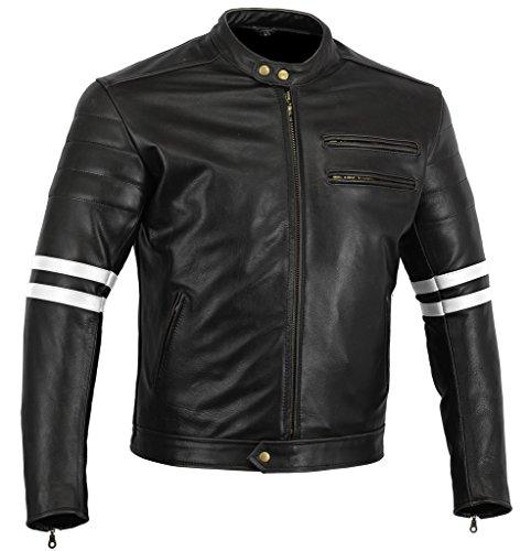 Australian Bikers Gear chaqueta moto Cafe Racer en color negro envejecido y rayas rojas oxblow con...