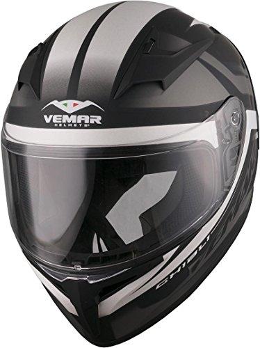 Vemar Ghibli Base - Casco integral para motocicleta, color negro mate, plateado y blanco