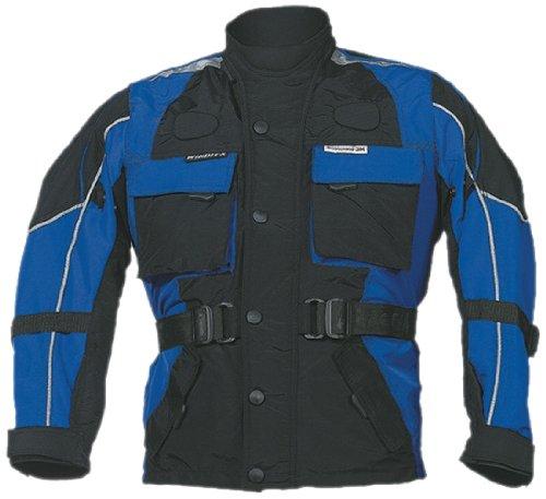 Roleff Chaqueta de Motorista para Niños Racewear, Negro/Azul, M/140