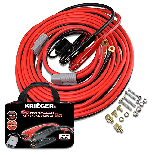 Cables de Arranque Krieger 9 Metros 50mm² Pinzas 800Amp, Kit de Instalación Permanente a la...