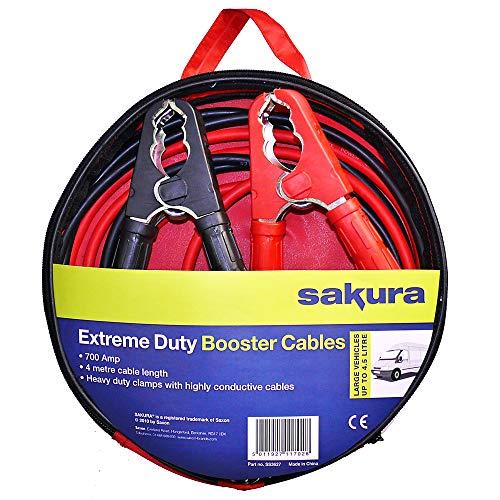 Sakura SS3627 - Cables de Arranque para Batería de Coche, Resistentes, 700 A, 4 m, con Códigos de...