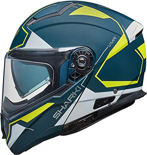 Vemar Casco de motocicleta Sharki Cutter 2019, color azul y amarillo fluorescente