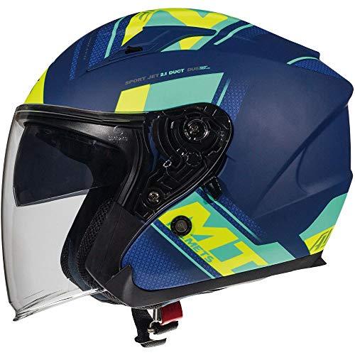 MT Avenue Sideway - Casco de moto (cara abierta), color azul y amarillo
