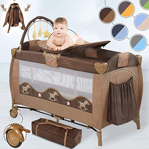 Cuna de Viaje Plegable - para Bebés de 0 a 3 años, Altura Regulable, con Cambiador, Bolsa...