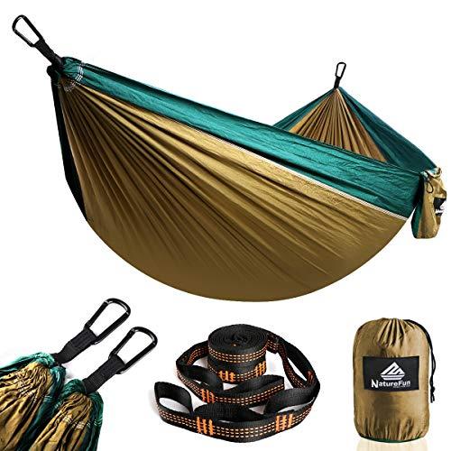 NatureFun Hamaca ultraligera para camping| 300kg de capacidad de carga, (275 x 140 cm) Estilo...