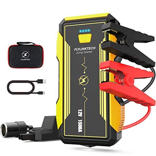 FLYLINKTECH 1500A Arrancador de Coches, 16000mAh 12V Arrancador Baterias Coche Moto (hasta 8000cc...