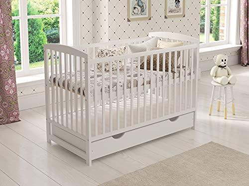 Cuna de madera para niños (blanco) con cajón 120 x 60 cm + colchón de espuma + barrera de...