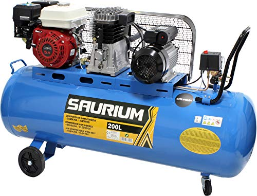 Compresor de Aire - Con Correas - Gasolina + Eléctrico