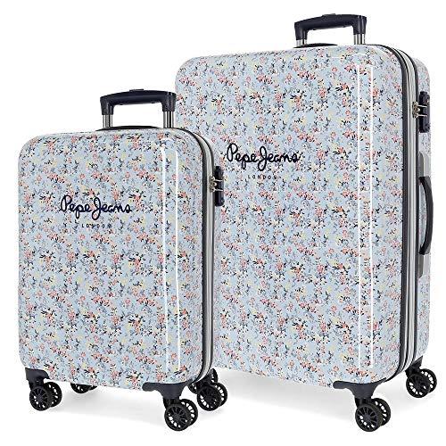 Pepe Jeans Malila Juego de maletas Azul 55/68 cms Rígida ABS Cierre TSA 104L 4 Ruedas dobles...