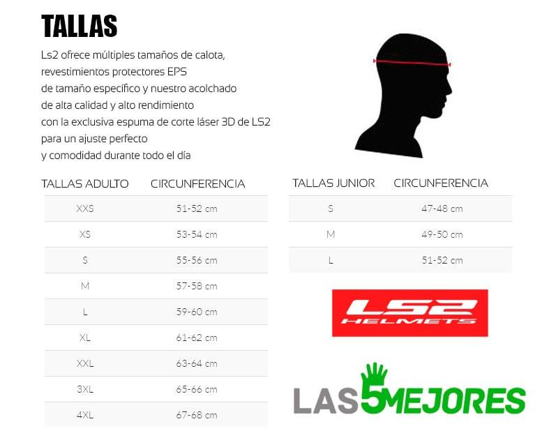 Guía de tallas de cascos LS2