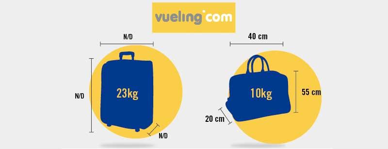 medidas de maletas de cabina aceptado por vueling